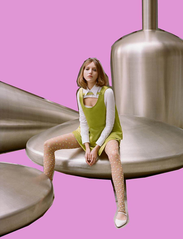 Shirt, top, skirt and shoes:  Prada /  Tights:  Cancellato