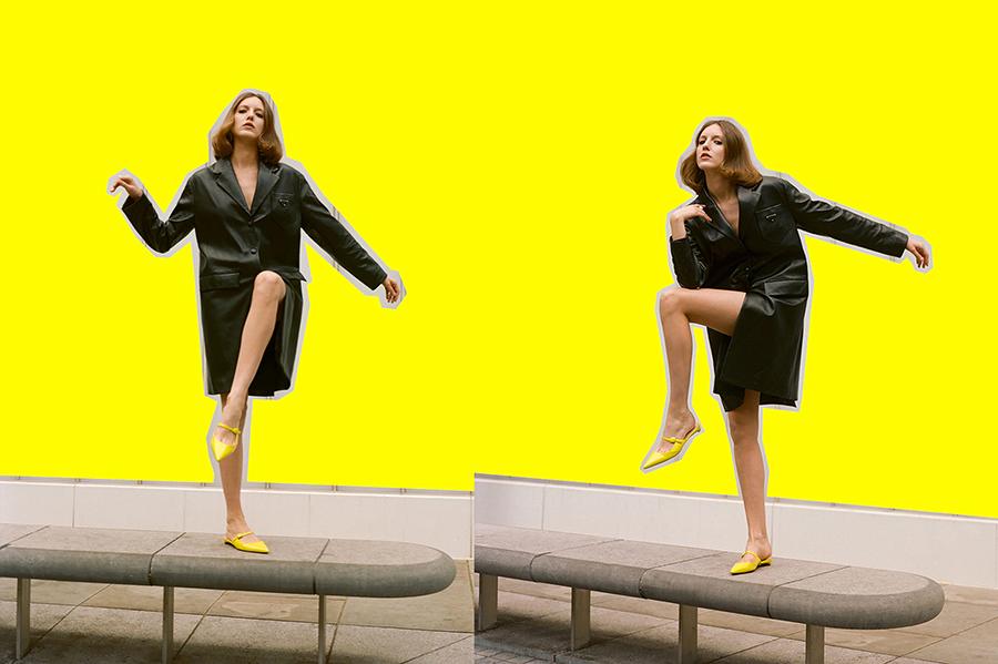 Leather coat:  Prada /  Shoes:  Rupert Sanderson /  Ring:  Dinosaur Designs
