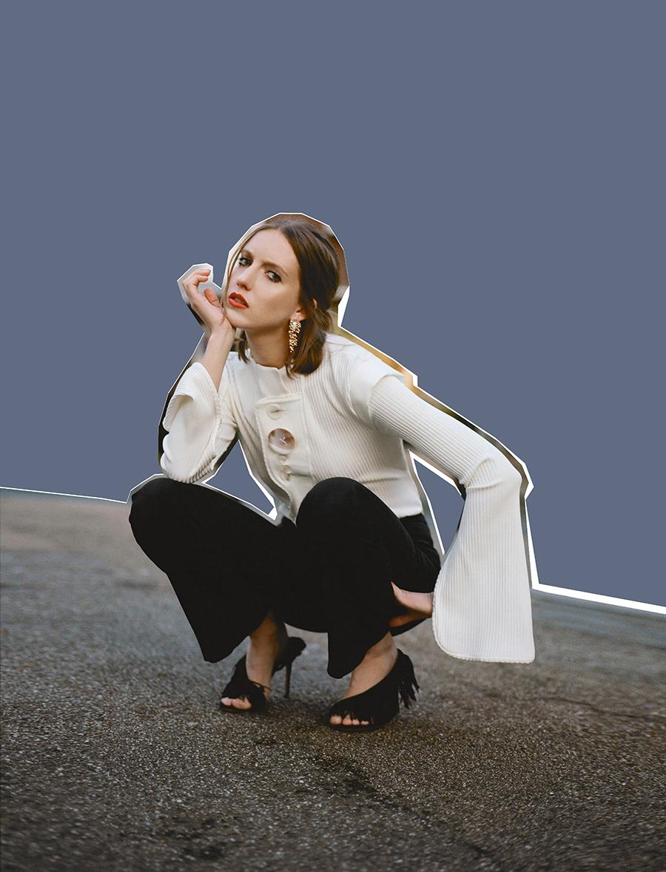 Top:  Ellery  @  harveynichols.com /  Trousers:  Altuzarra  @  boutique1.com /  Shoes:  Aquazzura /  Earrings:  Rosantica