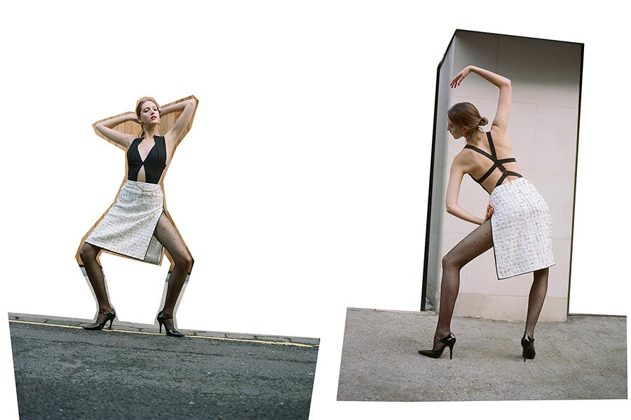 Black bodysuit:  Roland Mouret /  Skirt:  Chanel /  Tights:  Trasparenze  @  uktights.com /  Shoes:  Dorateymur /  Necklace worn as belt:  Chanel /  Earrings: Stylist's own