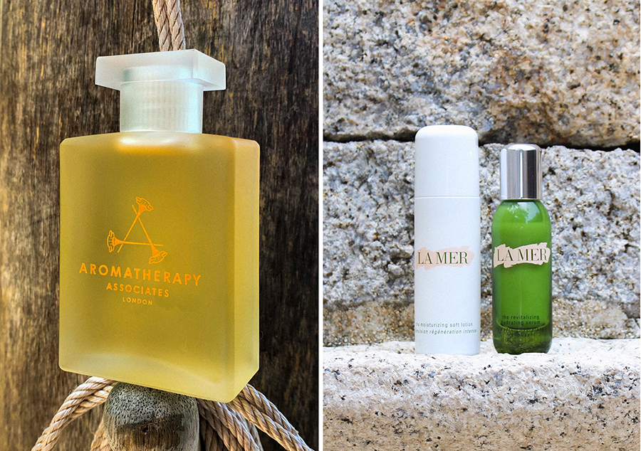 Left:   Aromatherapy Associates  | De Stress Muscle Bath and Shower Oil  - £47.00  Right:   LA MER  | The Moisturizing Soft Lotion  - £190.00    LA MER  | The Revitalizing Hydrating Serum , 30ml - £160.00