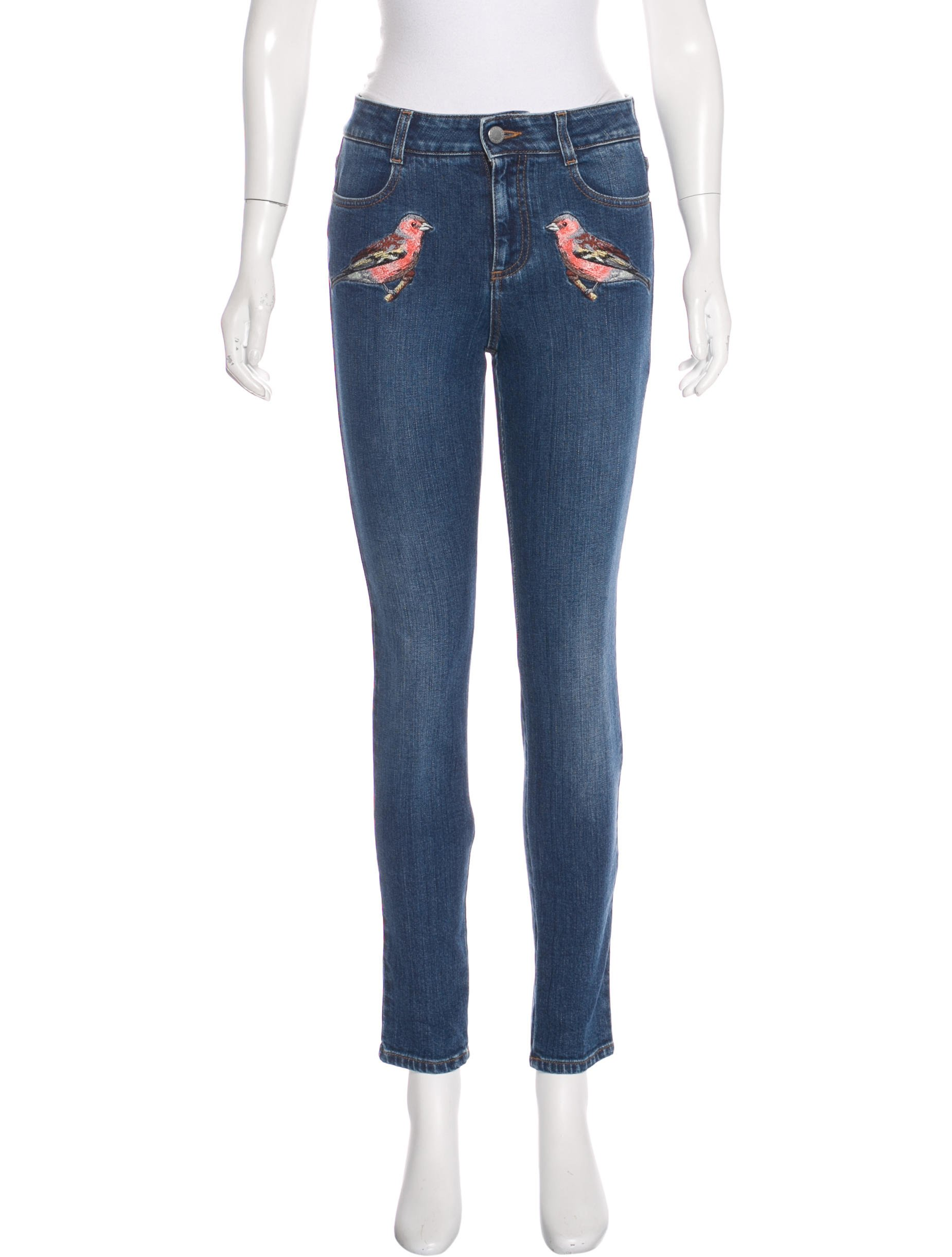 STELLA MCCARTNEY 2016 MID-RISE EMBROIDERED JEANS W/ TAGS; Size: US 26; $245.00