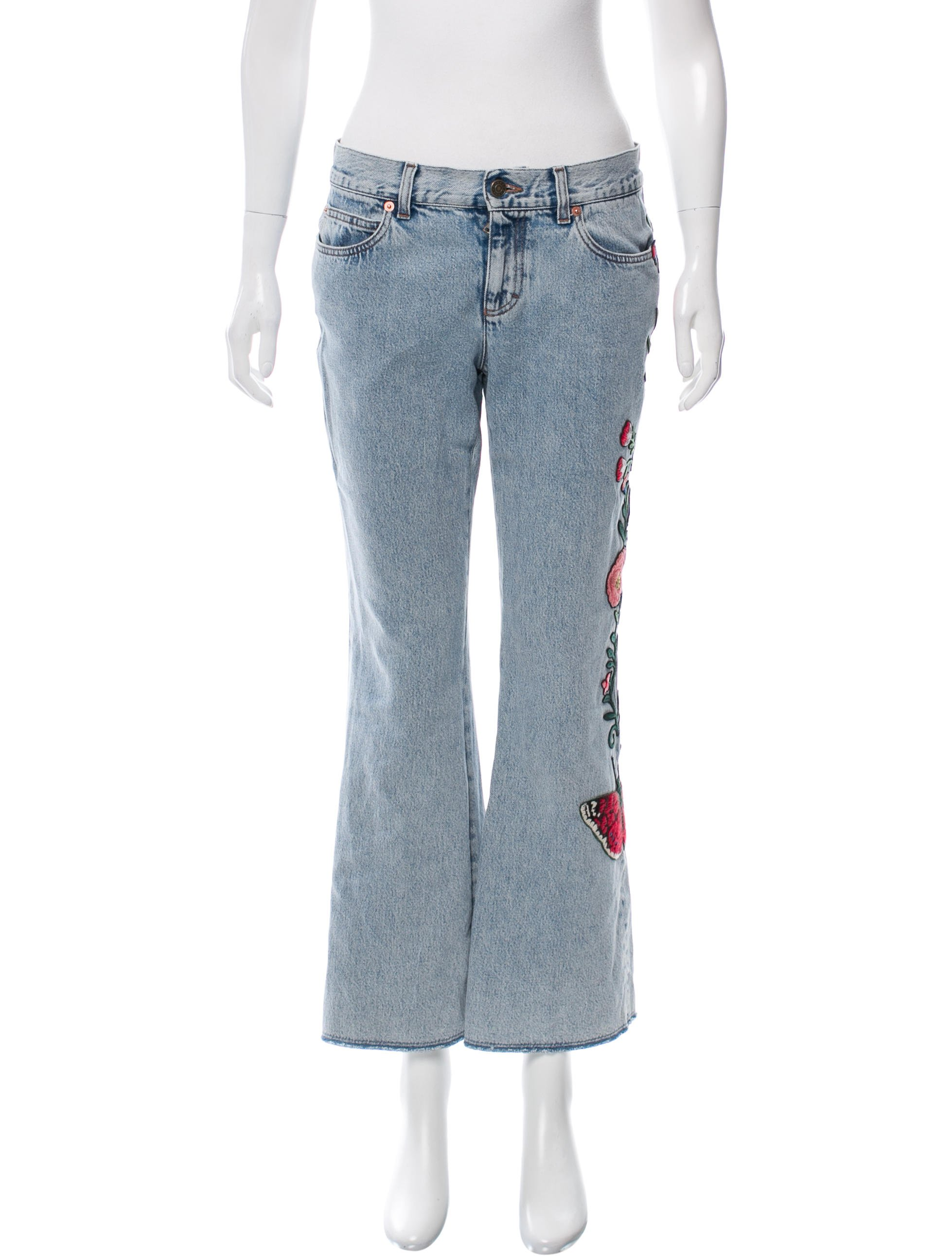 GUCCI Embroidered Mid-Rise Pants; Size: US 28; $595.00