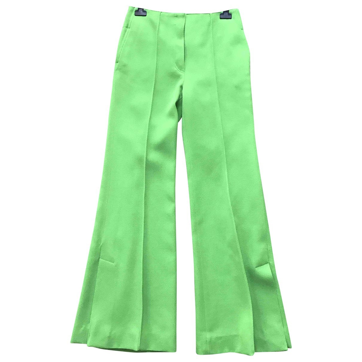CÉLINE Green Wool Trousers; Size: 36 FR; $610.81