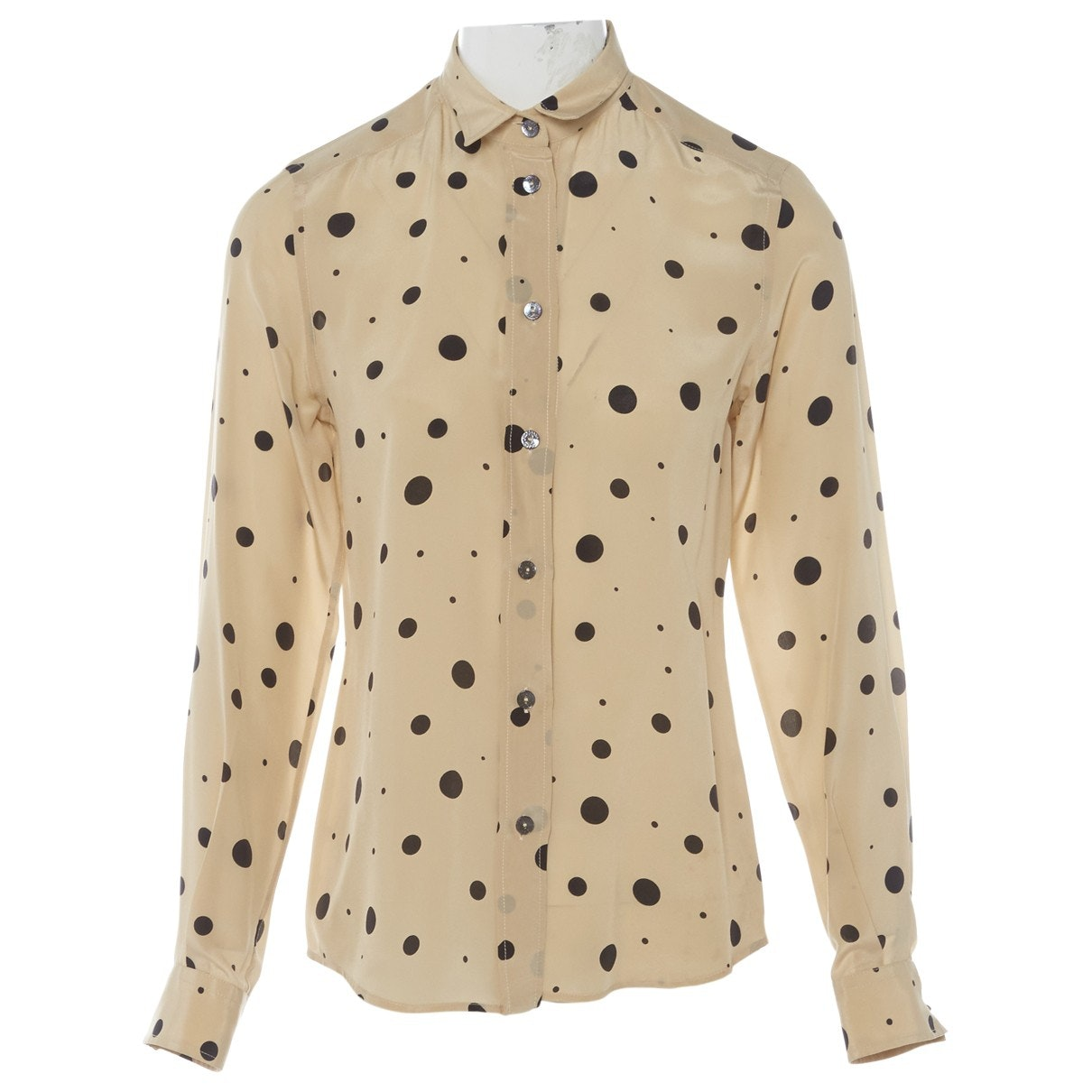 DOLCE & GABBANA Beige Polka Dot Shirt; Size: 40 IT; $133.19