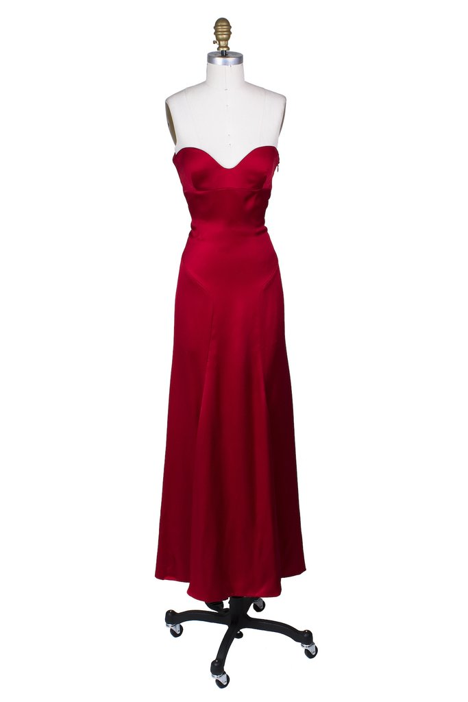 GIANNI VERSACE Red Satin Strapless Gown; Size: 40 EU; $9,500.00