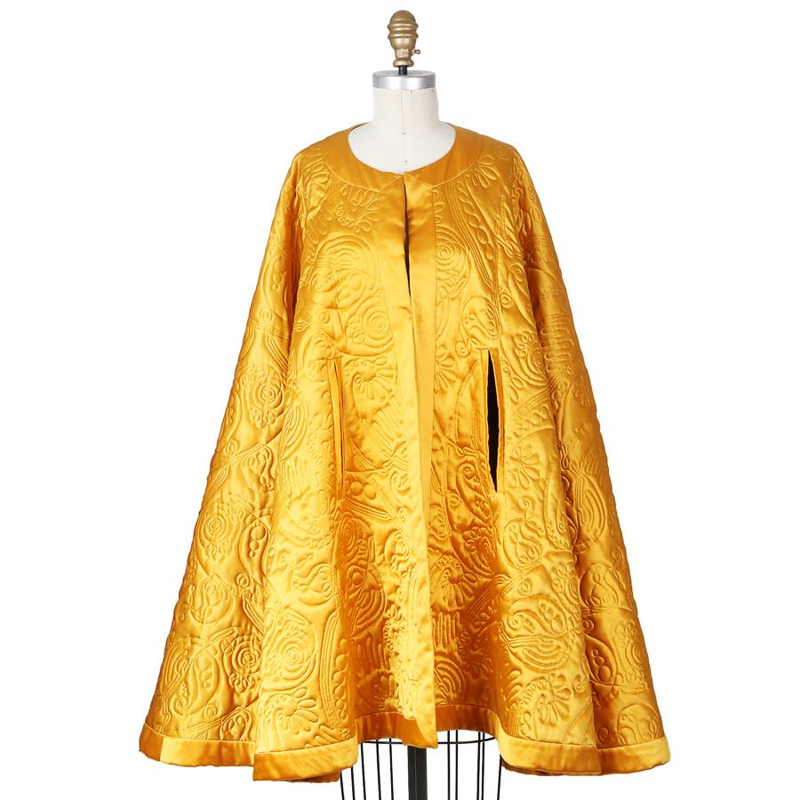 Vintage Quilted Silk Satin Cape; $1,200.00