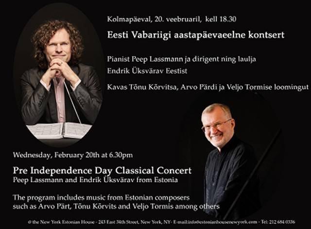 Classical Music by Estonian Composers - February 20, 2019 at 6:30pm | Estonian House New York (243 E 34th Street, New York, NY)