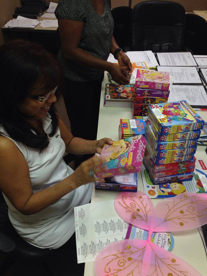"""Getting prizes ready for World Refugee Day """"Family Fun Day"""""""