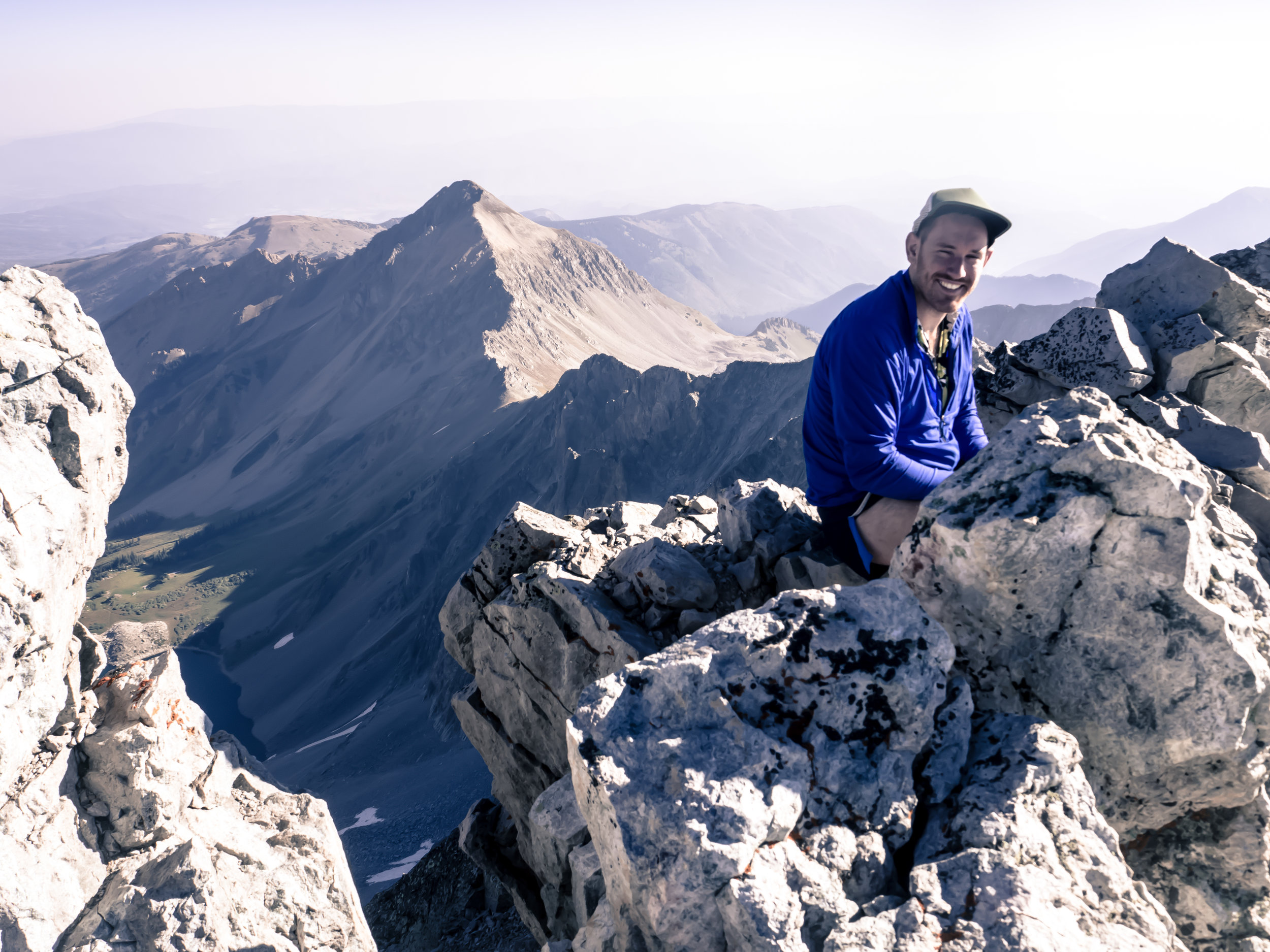 Feeling a little hazy, but happy on top of my first 14er!