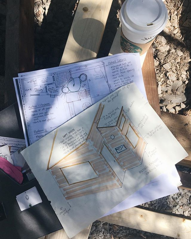 Getting started on this sweet cabin+treehouse and we're having a slightly above average fun work week. We'll build the cabin (with loft bunk!) first, and then finalize plans for the treehouse platforms, slides, and climbing structures with our clients once it's up. Watch our stories for progress shots!