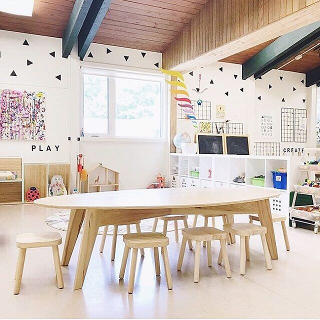 We've tried plenty to get a good photo of this kids art table we made for @paintedwombatyyc earlier this Spring, but haven't had any success. There's just never a moment that it's not swarmed with kids or covered in art projects set out to dry, which is exactly what was intended 🙌🏻 Thankfully they grabbed this shot of it now that school is out for the summer. Swipe right to see the original sketches we started with, and tap @paintedwombatyyc if you want to see where the city's happiest 3 and 4 year olds spend their weekdays 💛