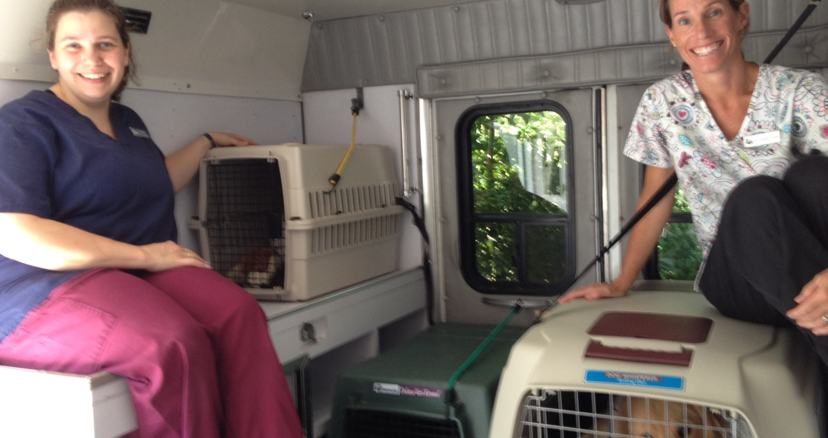 Bethany and Dr. Luke Inside the Pet Ambulance