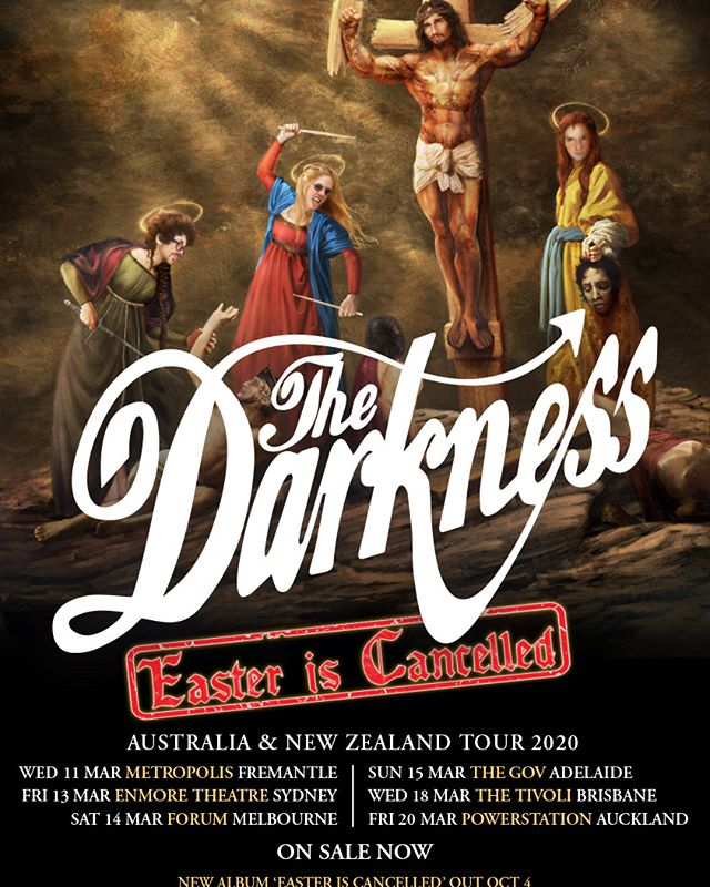 """""""WE ARE THE KNIGHT OF THE OLD WAY""""  https://www.keeneye4concerts.com/interviews-1/2019/10/16/the-darkness-podcast-interview-with-rufus-drums-september-18-2019   The Darkness #podcastinterview #TheDarknessband #rockband #EasterIsCancelled #Australiantour #March2020nationaltour #musicpress #musicjournalism #hilarious #WTF #albumtour #UKrockband #Brendantheblindguy"""