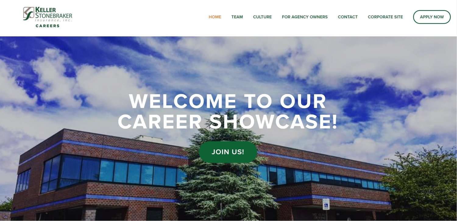 Sample of a Careers Showcase website TalentCMO created for a client in the insurance industry