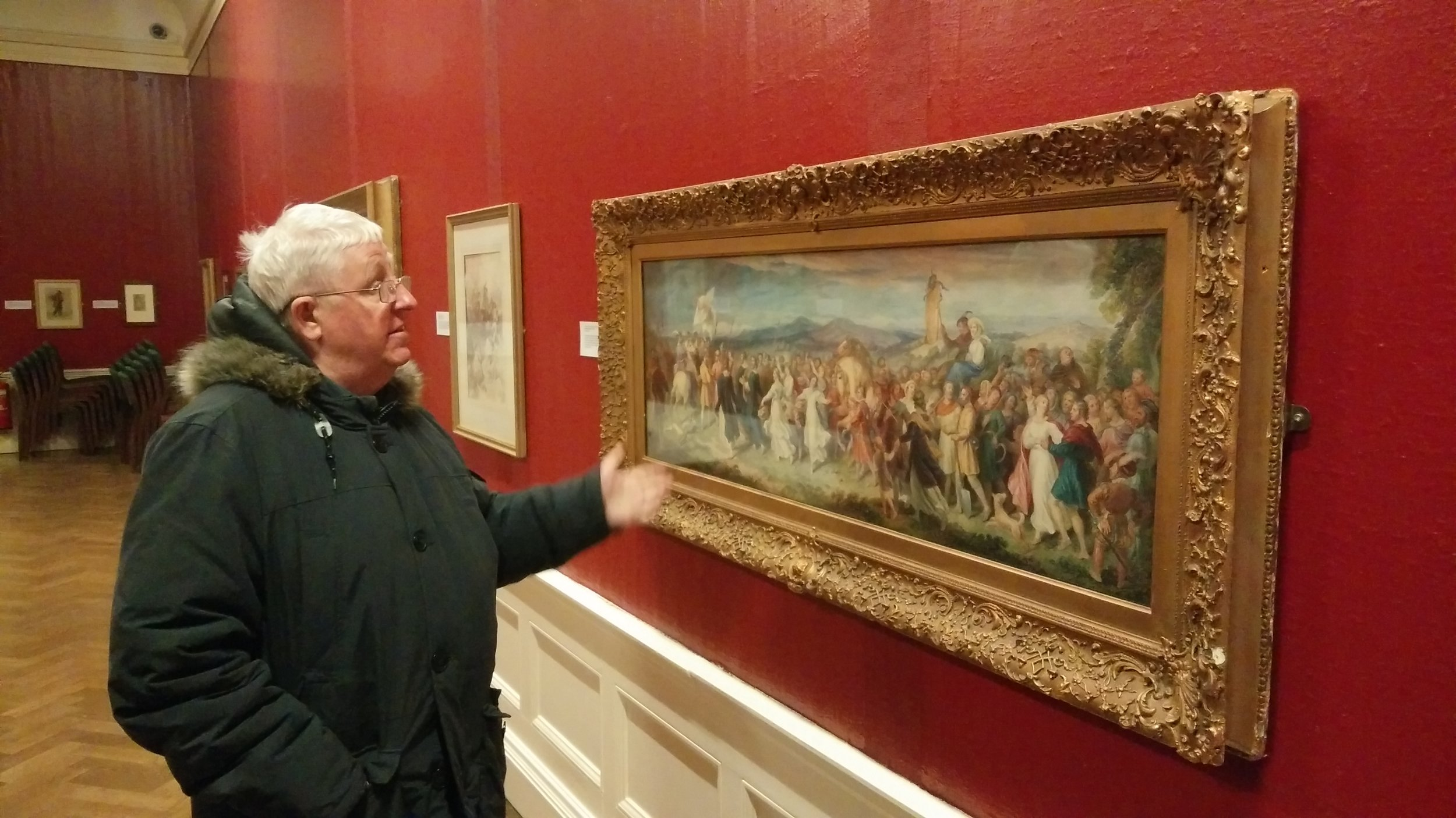 Viewing the watercolour collection in the Williamson gallery and museum, Oxton