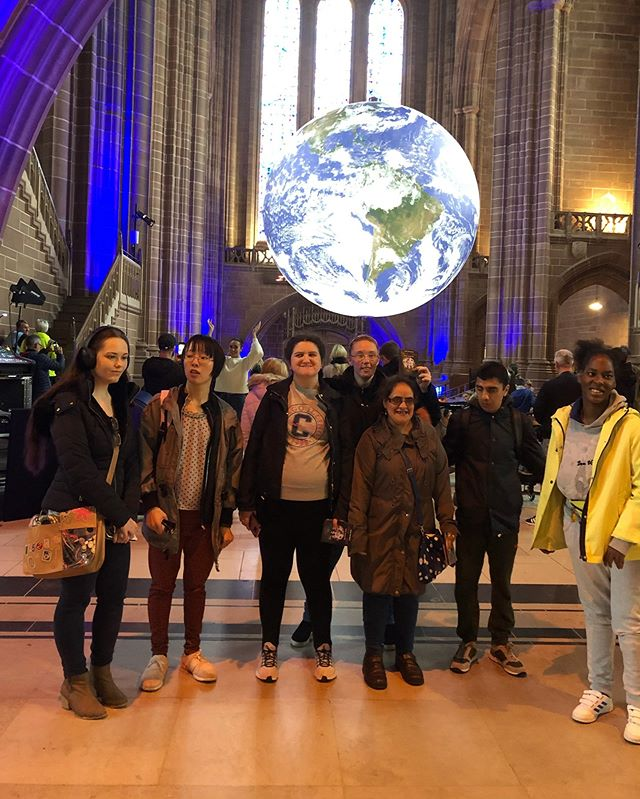 We went to see the earth!!🌍 #earth#cathedral#liverpool#art#liverpoolart#happy#creative#fun