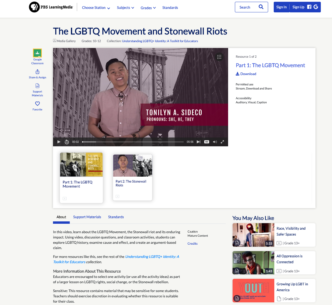 Tonilyn Teaches LGBTQ HISTORY Through PBS LEARNING - The LGBT Movement and STONEWALL RIOTS