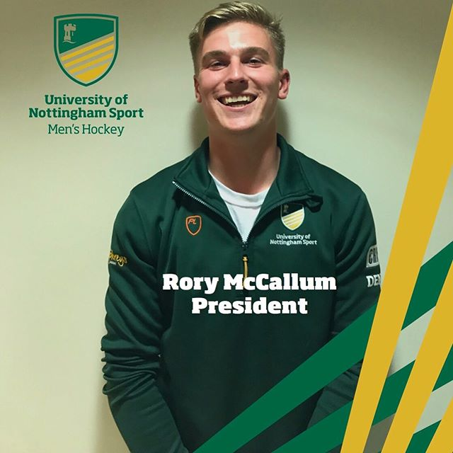 """Meet the committee  And finally...Rory  Year: 4th Course: Masters in Hockey Badger rating: 8/10 Favourite UoNHC memory: """"Meeting the love of my life through playing hockey""""  #hemeansbix #mypresident #backfromshallam"""