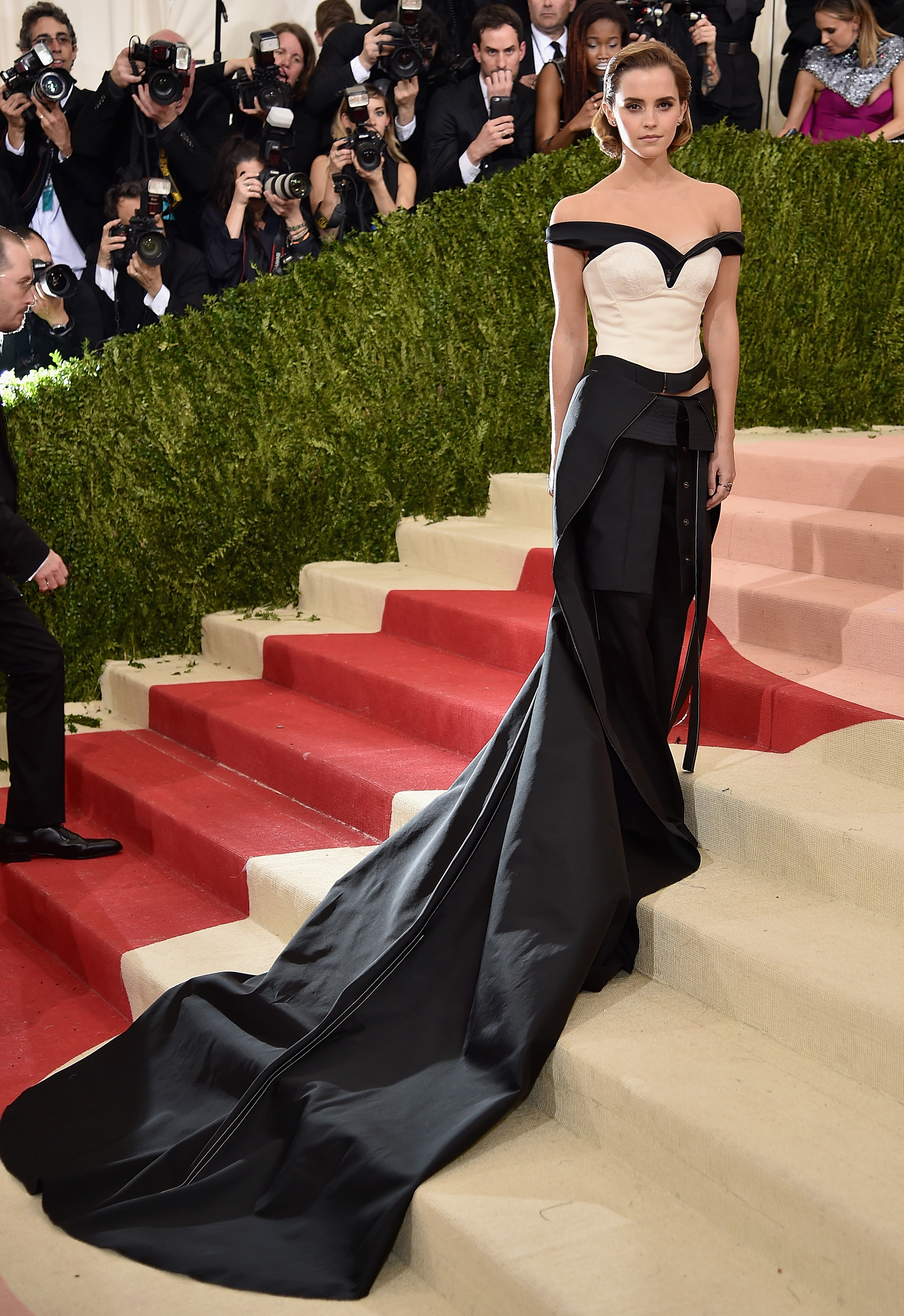 Calvin Klein Green Carpet Challenge dress worn by Emma Watson to the MET Gala 2016,  Photo by Dimitrios Kambouris/Getty Images