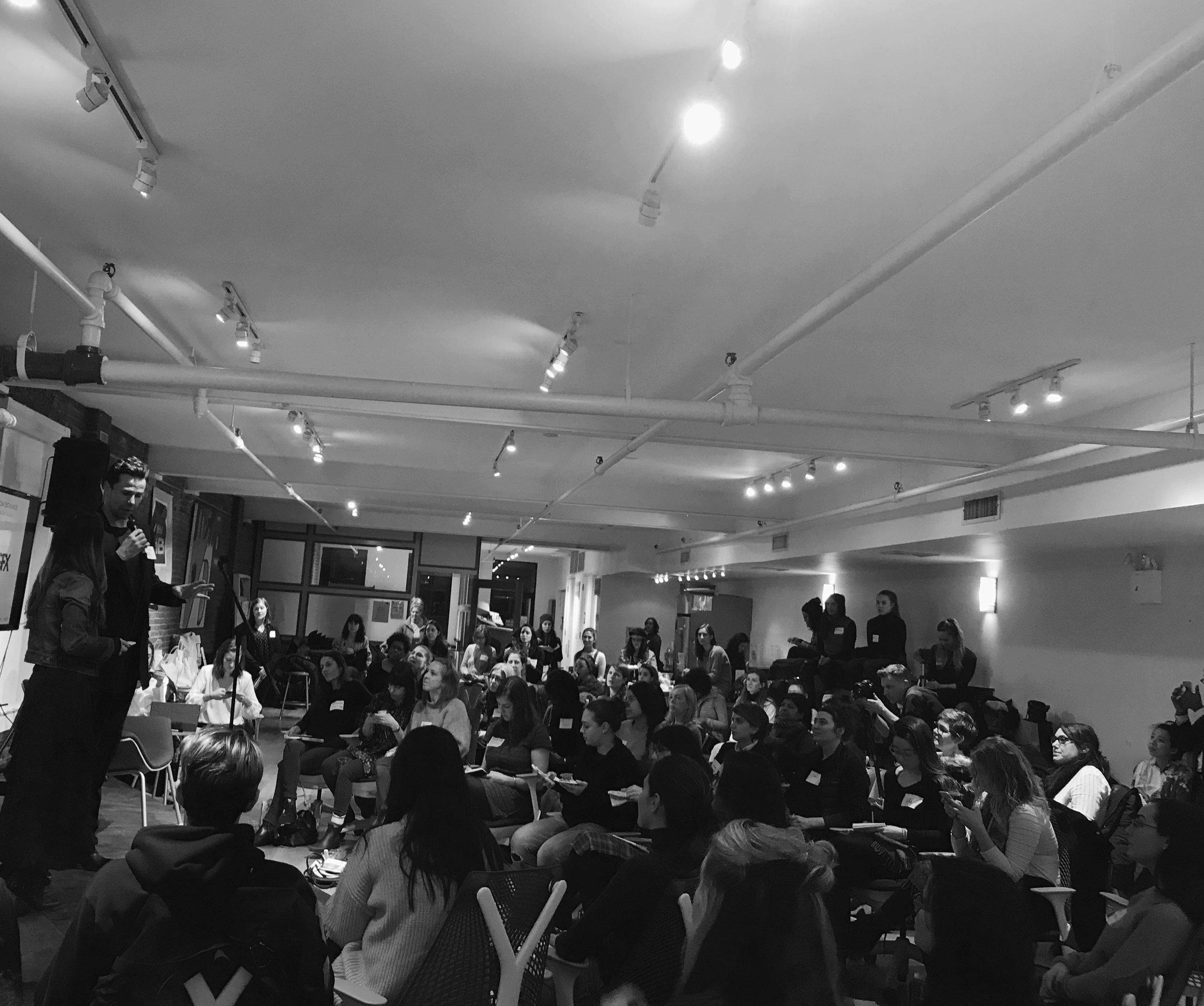 Sustainable Community Meeting, Impact Hub NYC, January 9, 2018.   Photo by Gabriela Fernandes-DaSilva.