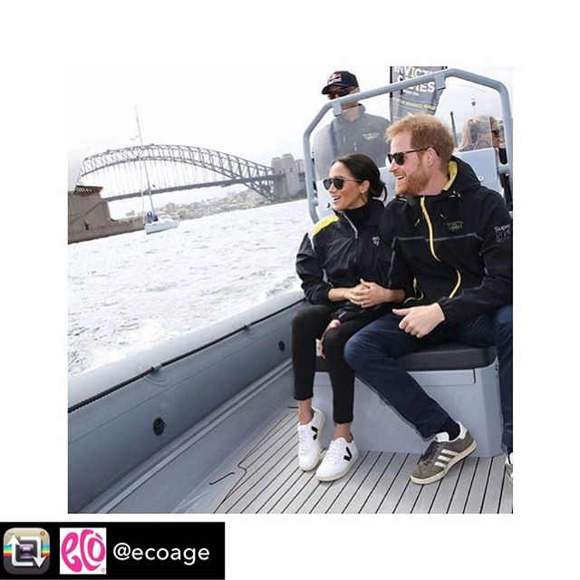 ✨ Repost from @ecoage- The Duchess of Sussex showing how it's done in @veja sneakers - environmentally friendly, made with raw materials sourced from organic farming and ecological agriculture, without chemicals or polluting processes - as they cheer on the @InvictusGames2018 during the #royalvisitaustralia - Repost @kensingtonroyal ✨