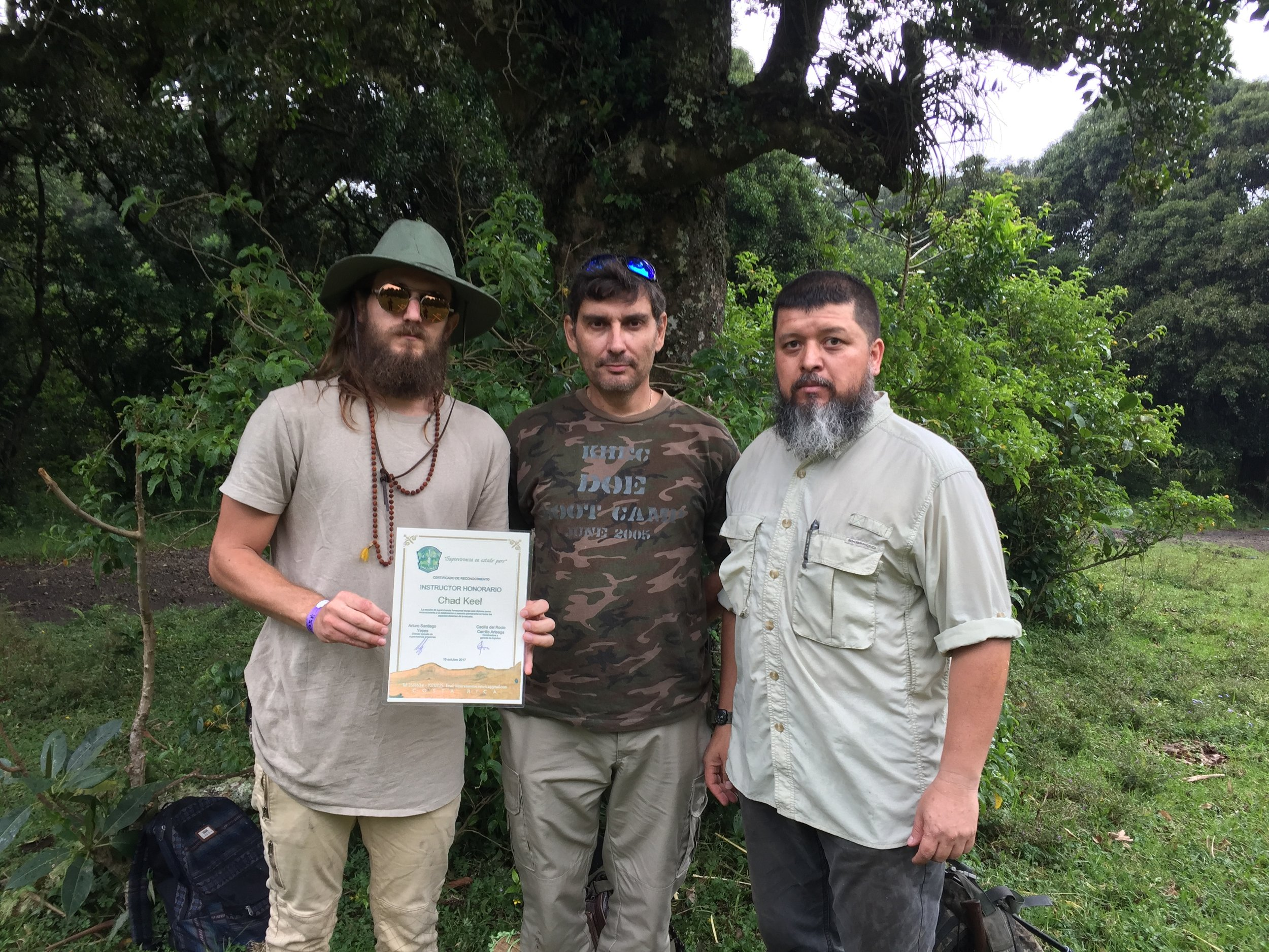 Chad Keel was made an Honorary Instructor for the Amazonas Survival School in Costa Rica in 2017.