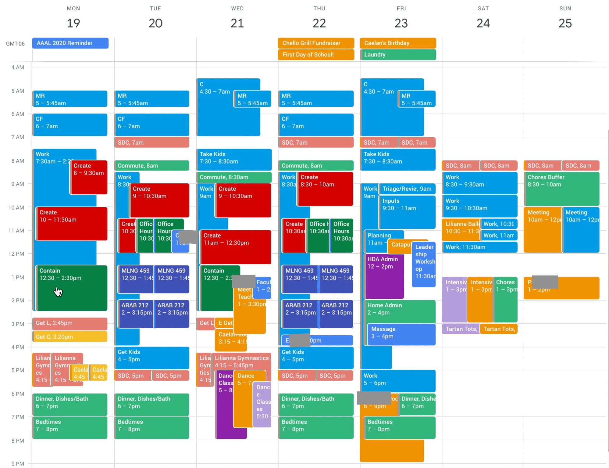 Events+Ideal Week—not yet aligned!