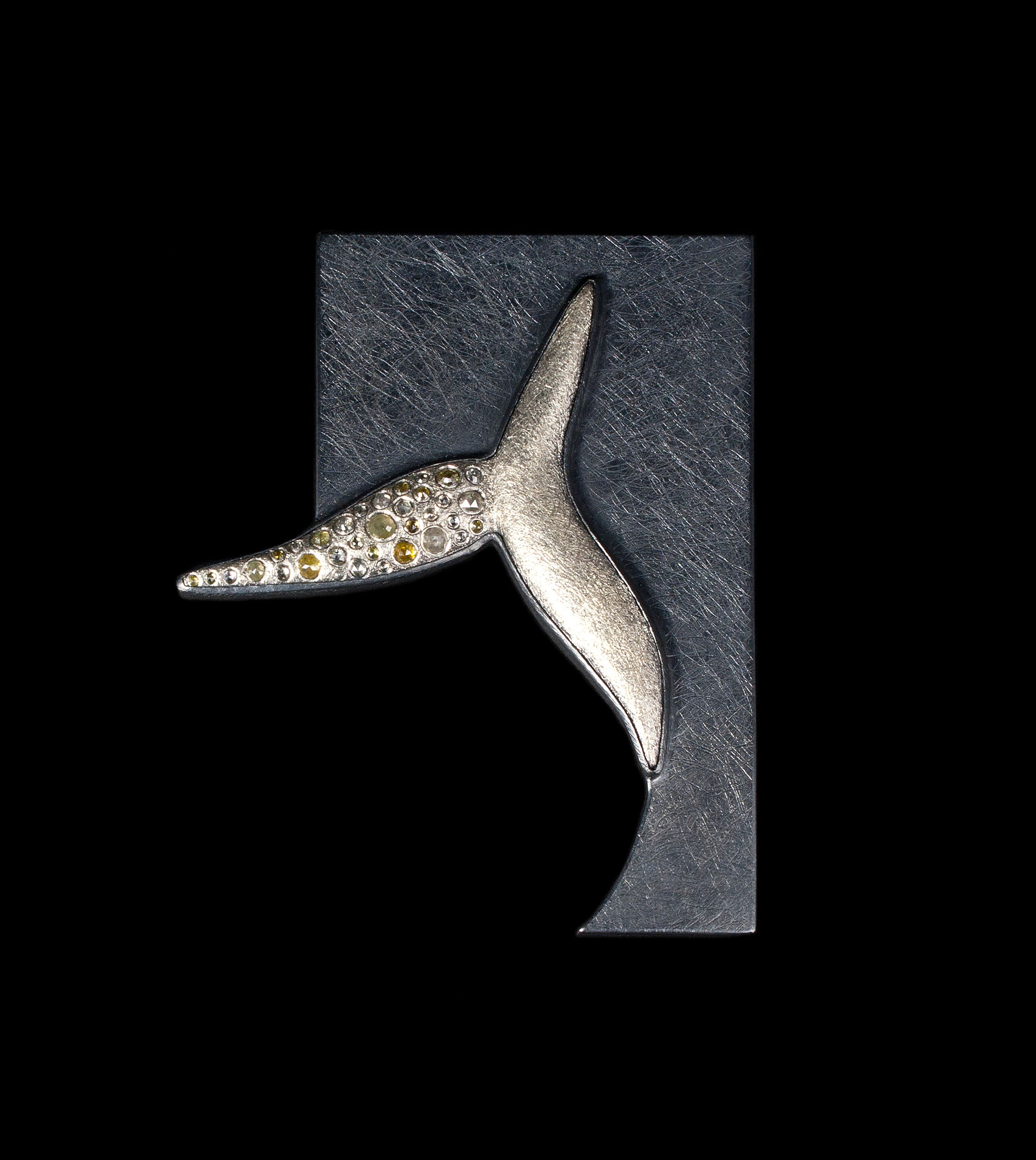 "Todd Reed   Untitled Brooch  Sterling Silver, Raw Cut Diamonds  3.25"" x 2.5"" x .25"""