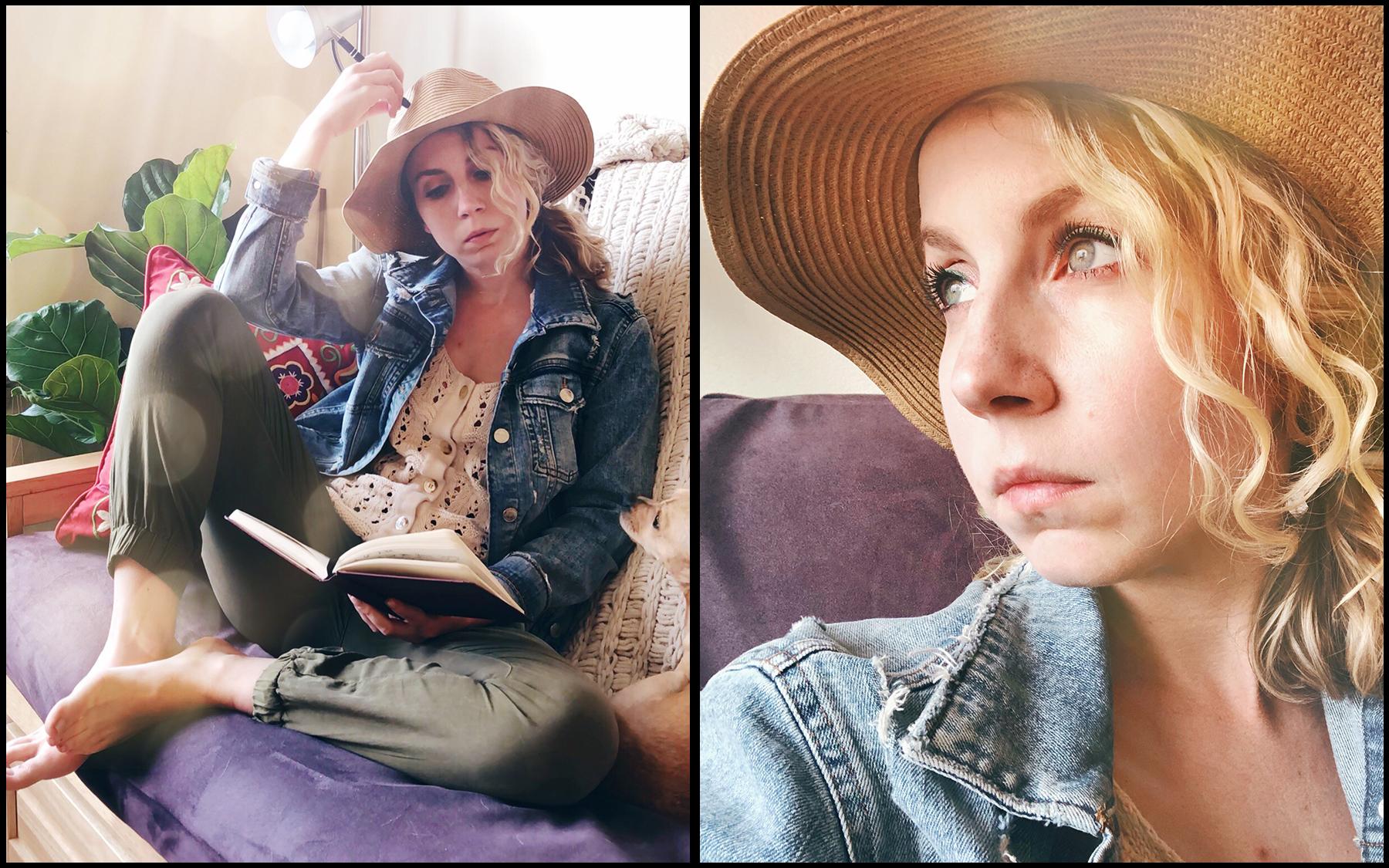 Anthropologie Pants ( similar here ), Zara Denim  Jacket , Anthropologie Top ( similar here ), Eugenia Kim Hat ( similar here ), Noodles Dog ( similar here )