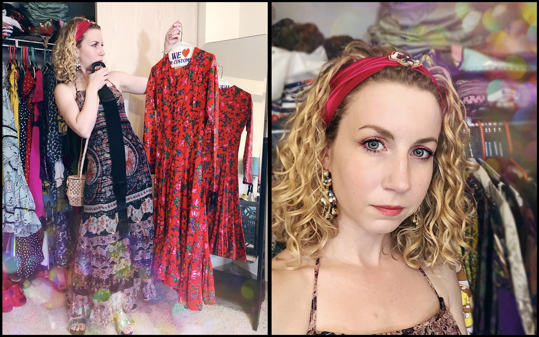 Anna Sui Dress ( similar here ), Anna Sui Shoes ( similar here ), KAANAS  Handbag , Anthropologie Headband ( similar here ), Multi-color Earrings ( similar here )