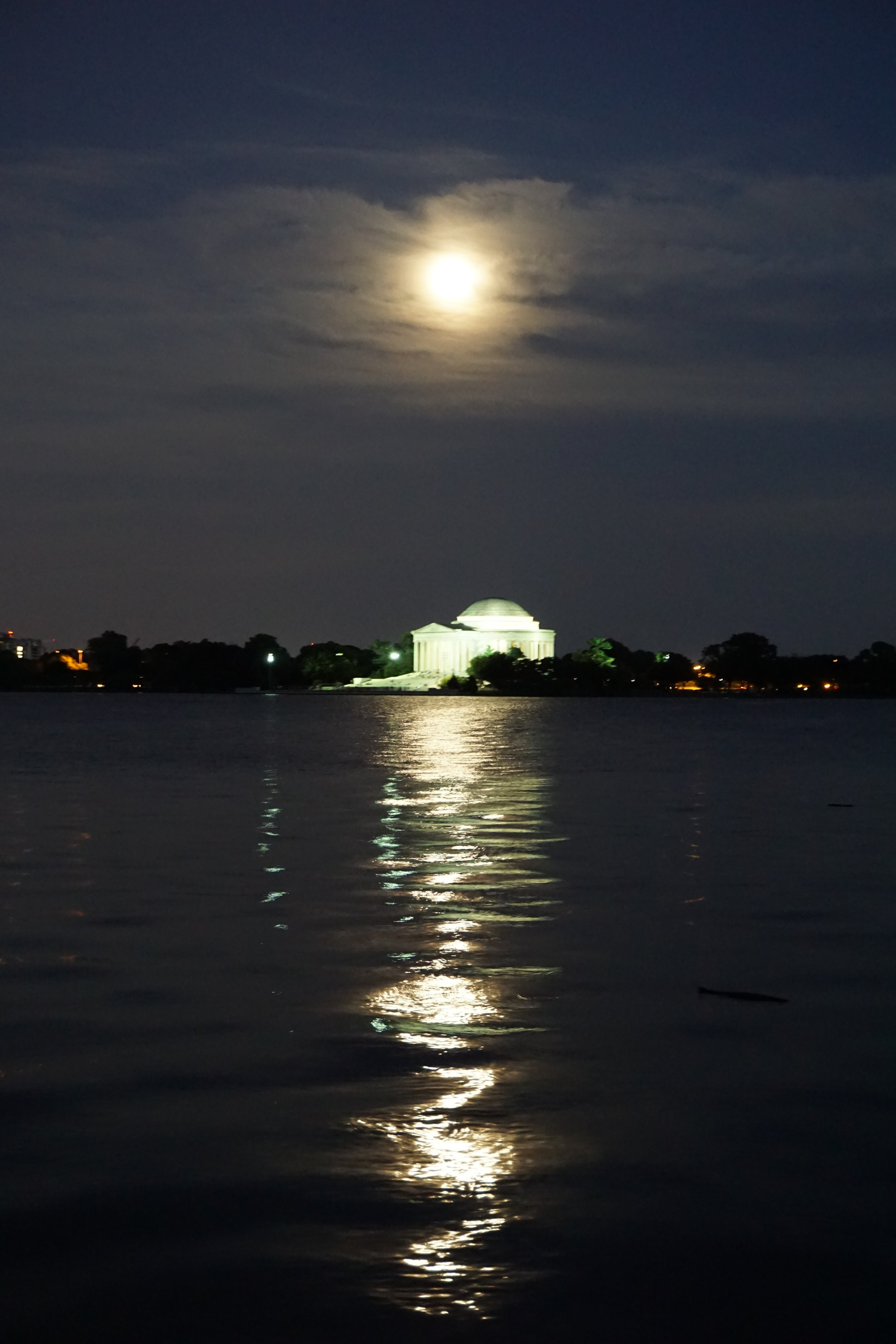 Jefferson Memorial across the water at night, Washington DC