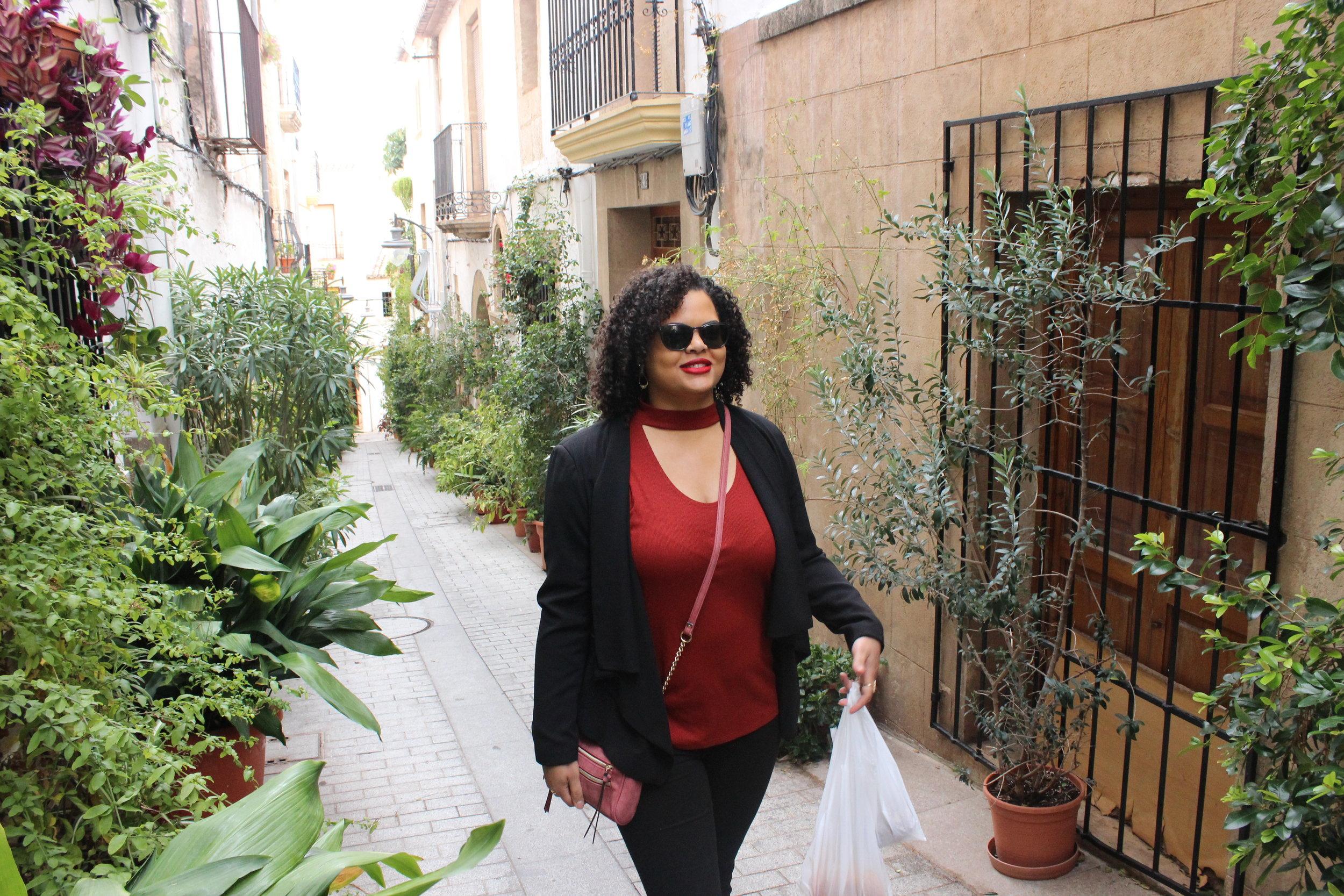 Walking through downtown Jávea, Spain