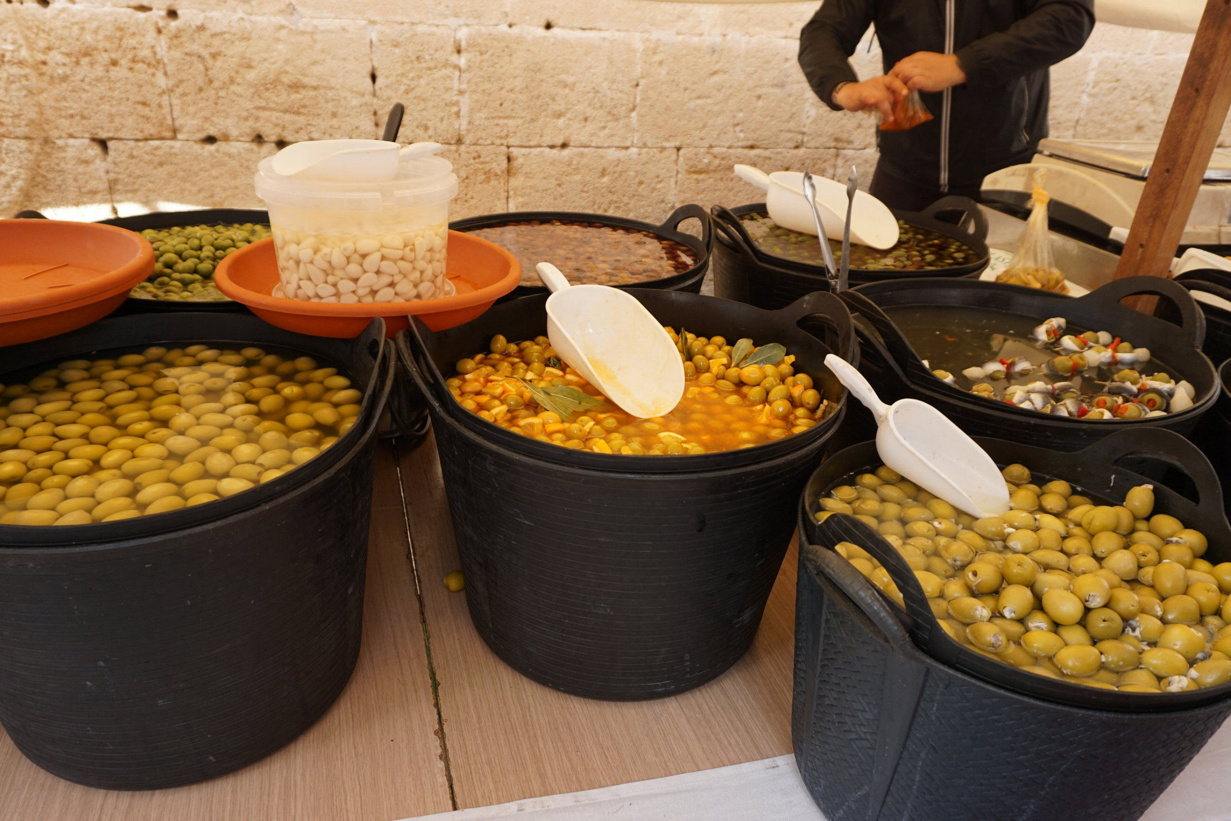 Olive vendor in downtown Jávea, Spain