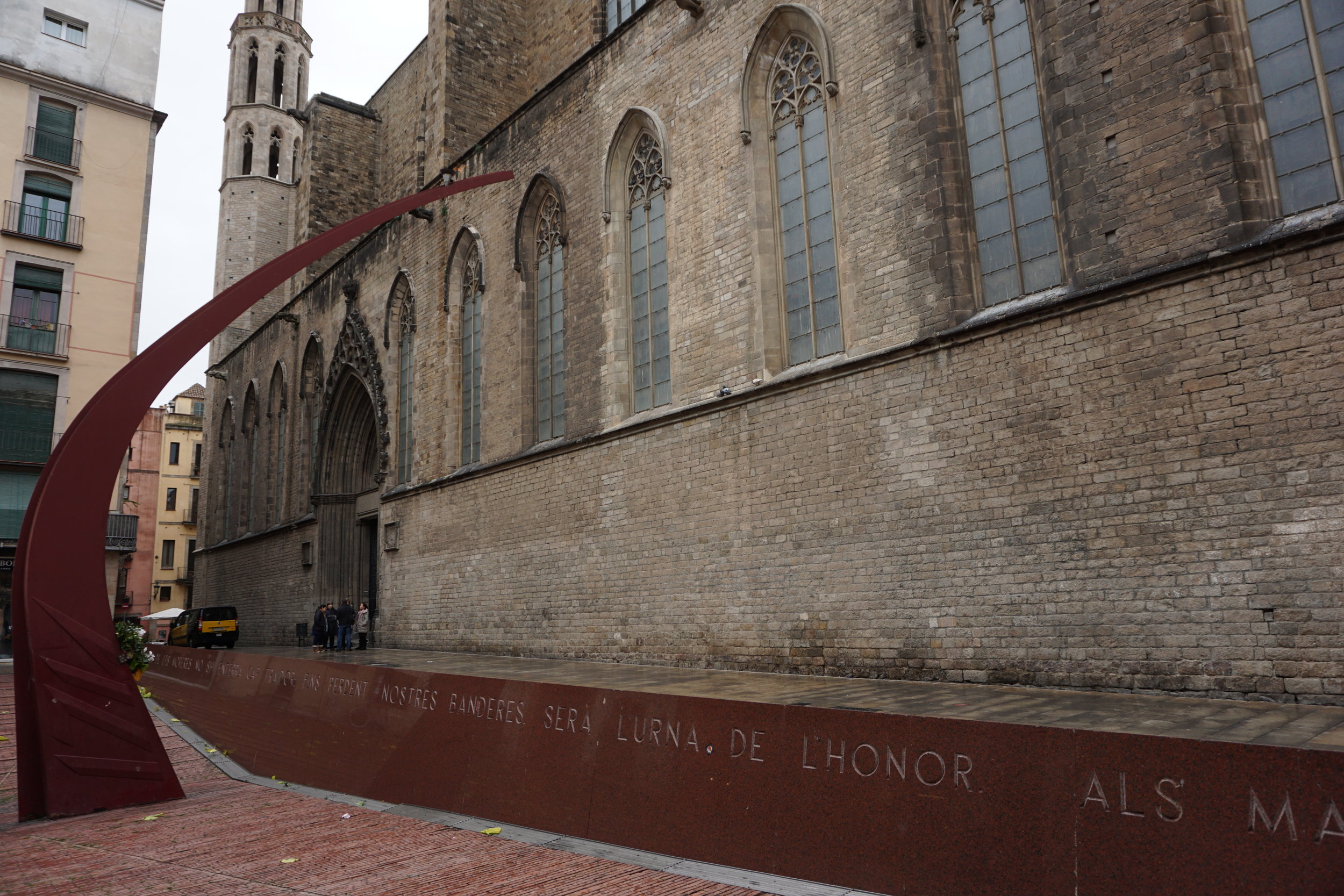 Fossar de les Moreres, a memorial square that was built over a cemetery where Catalan defenders of the city were buried following the Siege of Barcelona at the end of the War of the Spanish Succession in 1714