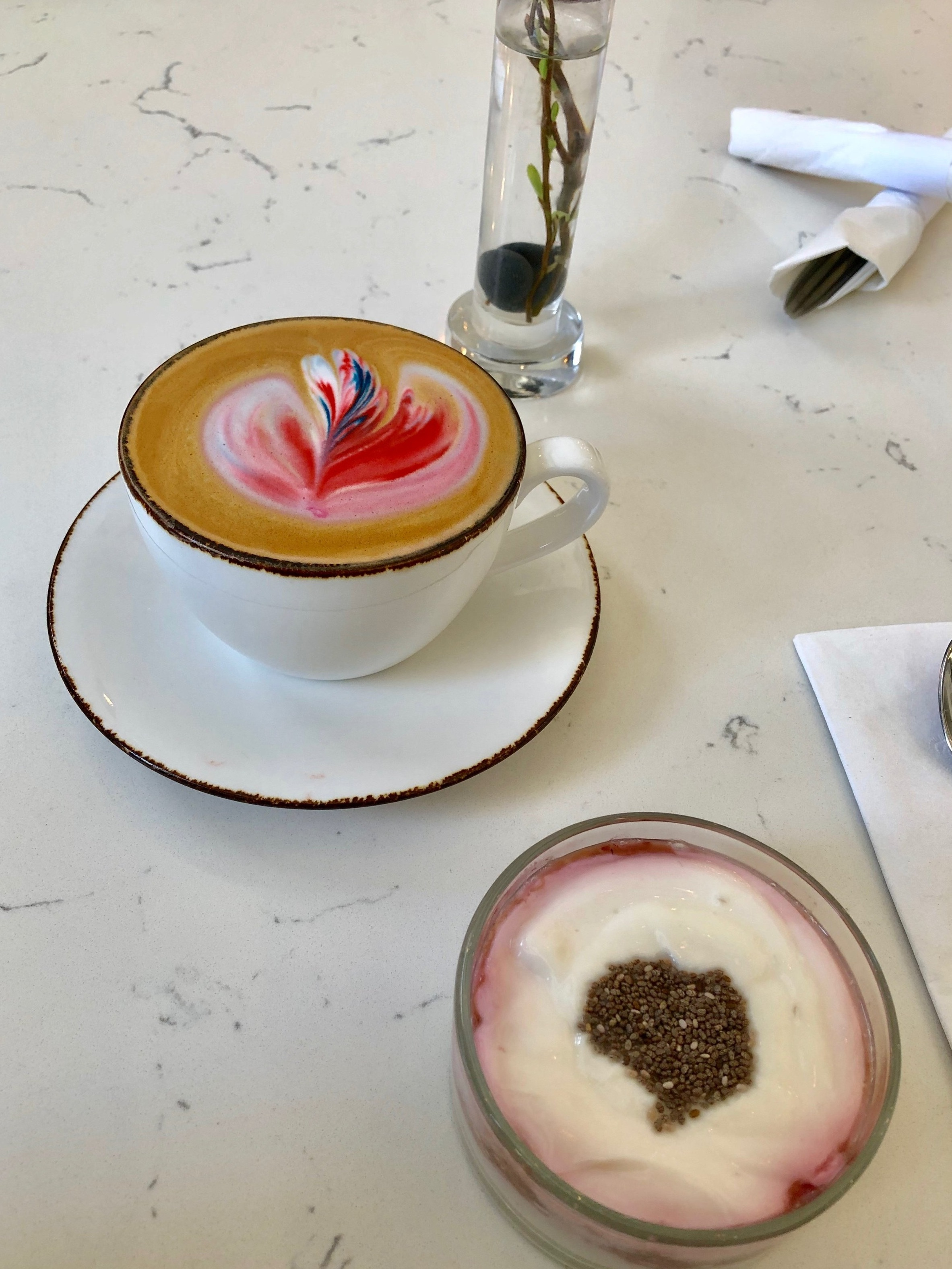 Latte and yogurt parfait at Cafe Fili