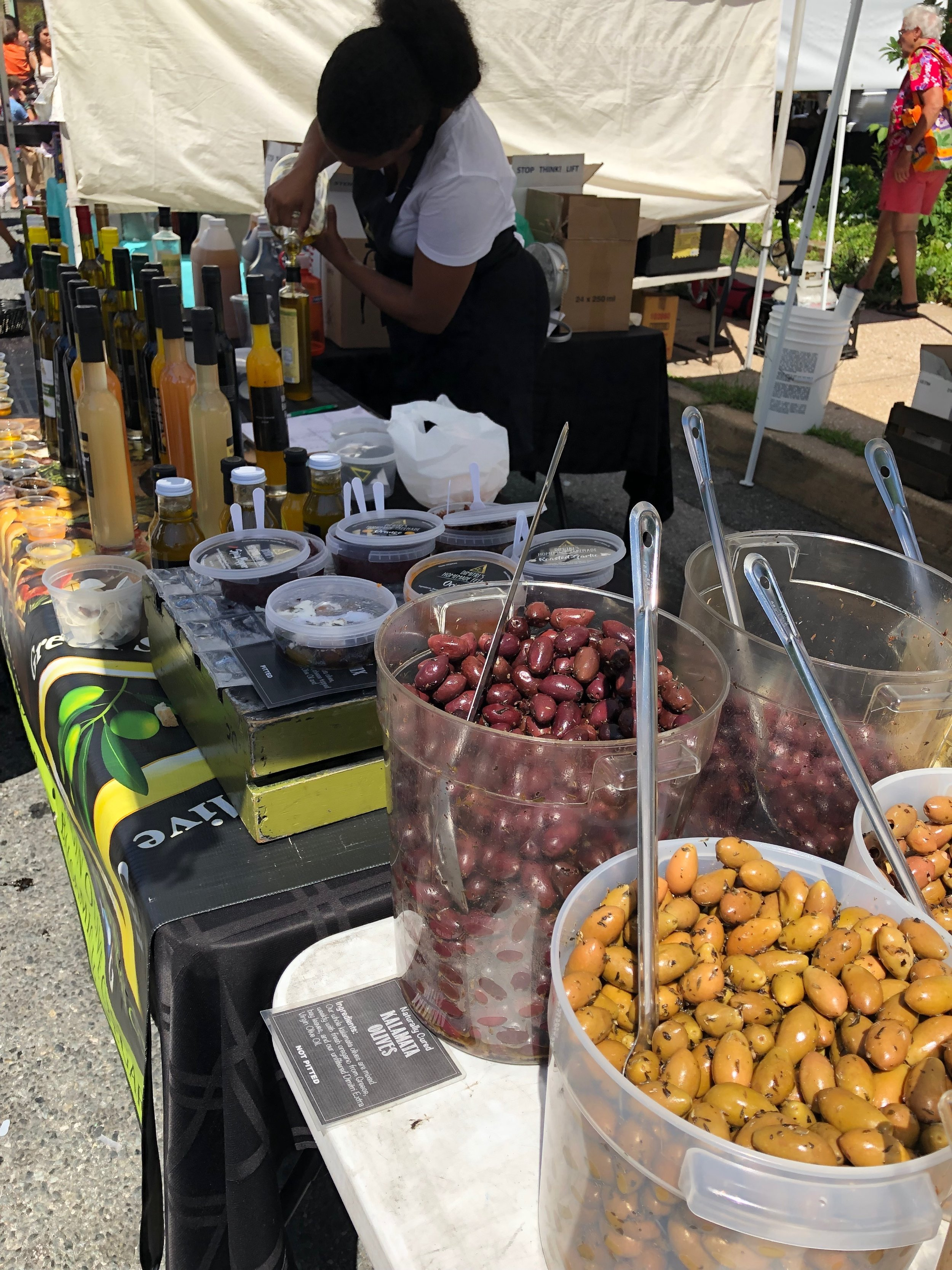 Farmers market olive oil and olives