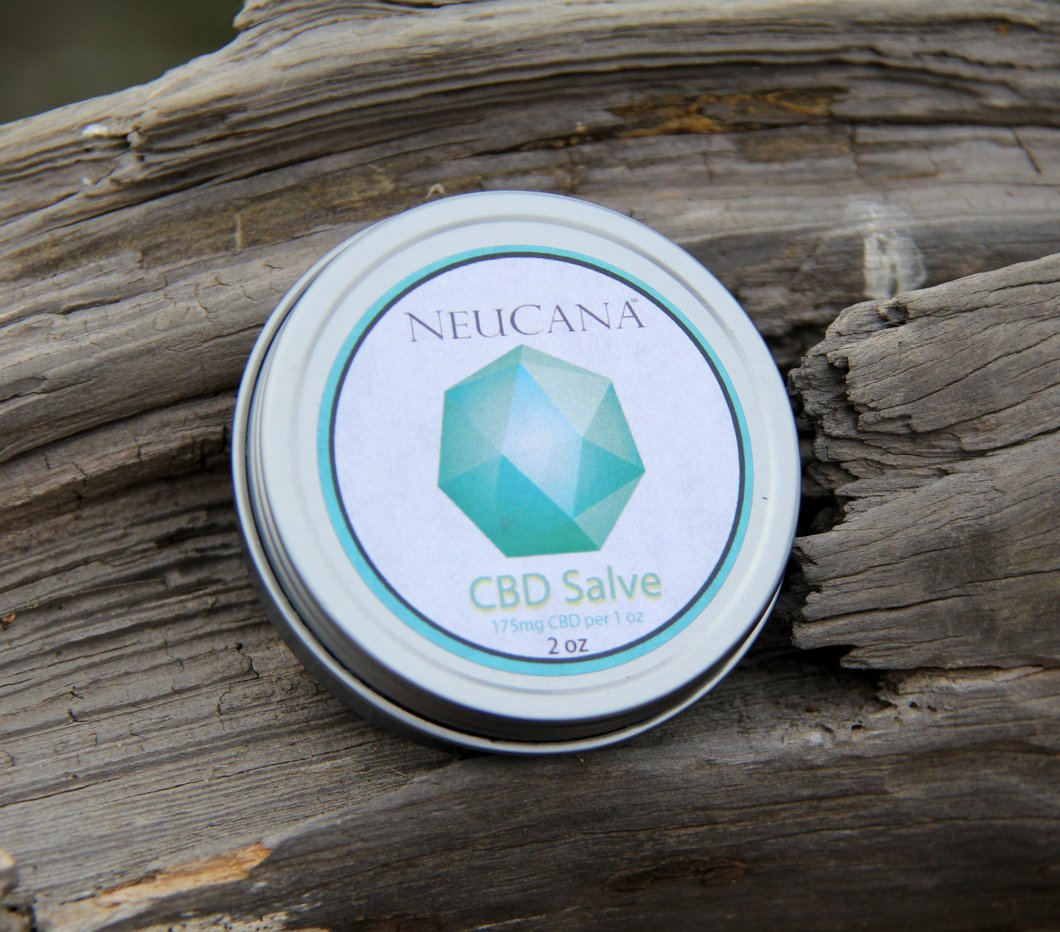 NeuCana Action Sports Salve 2oz.   400 mg - Our NeuCana salve helps relieve aches and pains. Let your muscle tension melt away. Best used on head, neck, back, shoulders, knees, and feet after activities.Recommended Use: Pain from Trauma, swelling from activities, stiffness in musclesOrganic Ingredients – 2 oz: Proprietary Blend- Shea Butter, Beeswax, Hempseed Oil, Arnica, May Chang, Lemongrass, 20:1 Whole Flower CBD (non-psychoactive)