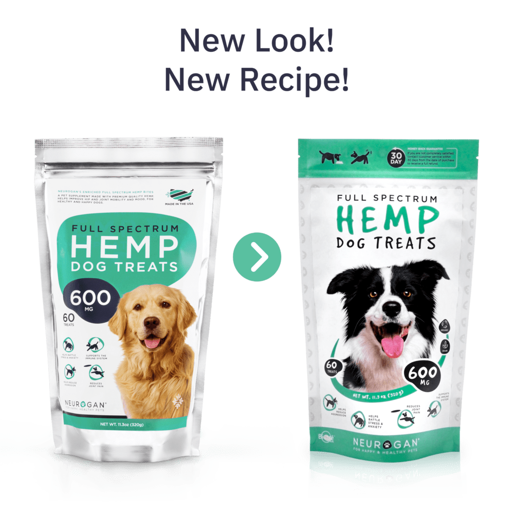 CBD Dog Treats, 60 treats - Our Neurogan Full-Spectrum CBD Dog Treats now feature an improved recipe & new look! Introducing our tasty peanut butter treats formulated with 10mg of full-spectrum CBD per treat to help calm and soothe your furry-pal, naturally. With a simple vegan blend of human-grade ingredients and delicious taste, your four-legged companion will feel relaxed and blissfully calm.INGREDIENTSServing Size: 1 Treat (10mg of CBD)Total Servings: 60 Treats (600mg of CBD)Premium Full-Spectrum Hemp (CBD) PowderOrganic Oat PowderOrganic Apple SauceOrganic Coconut OilOrganic Peanut ButterFiltered WaterHemp Oil1 treat – Dogs under 25 lbs2 treats – Dogs between 26-75 lbs3 treats – Dogs over 76 lbs