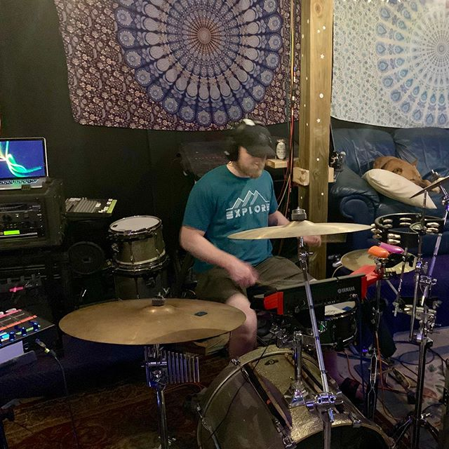 @tbonesteeke laying down some drums last night! Reed is supervising from the couch.  #SoundYourBest at @soundstudio412  #drums #recording #studio #dog #studiodog #tama @officialtamadrums @allinthetrunk @steelpenguinrecords