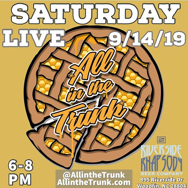 Come check out @allinthetrunk LIVE at @riversiderhapsody ! This Saturday - 9/14 #LiveMusic #WNCMusic #Music #Food #Beer #FoodTruck #River #Rock #Blues #Studio412 @soundstudio412 @tbonesteeke