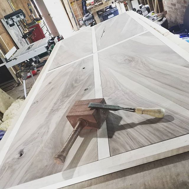 I don't really post much about my day job. But I've been working on this barn door for the past 3 days. And it's ALMOST assembled. Started with rough boards from the supplier. It's walnut and curly maple. :) #dayjob #thegrind #carpenter #carpentry #woodwork #woodworking #joinery #door #barndoor #custom #828 #828isgreat #avl #asheville #wnc #butmusictho