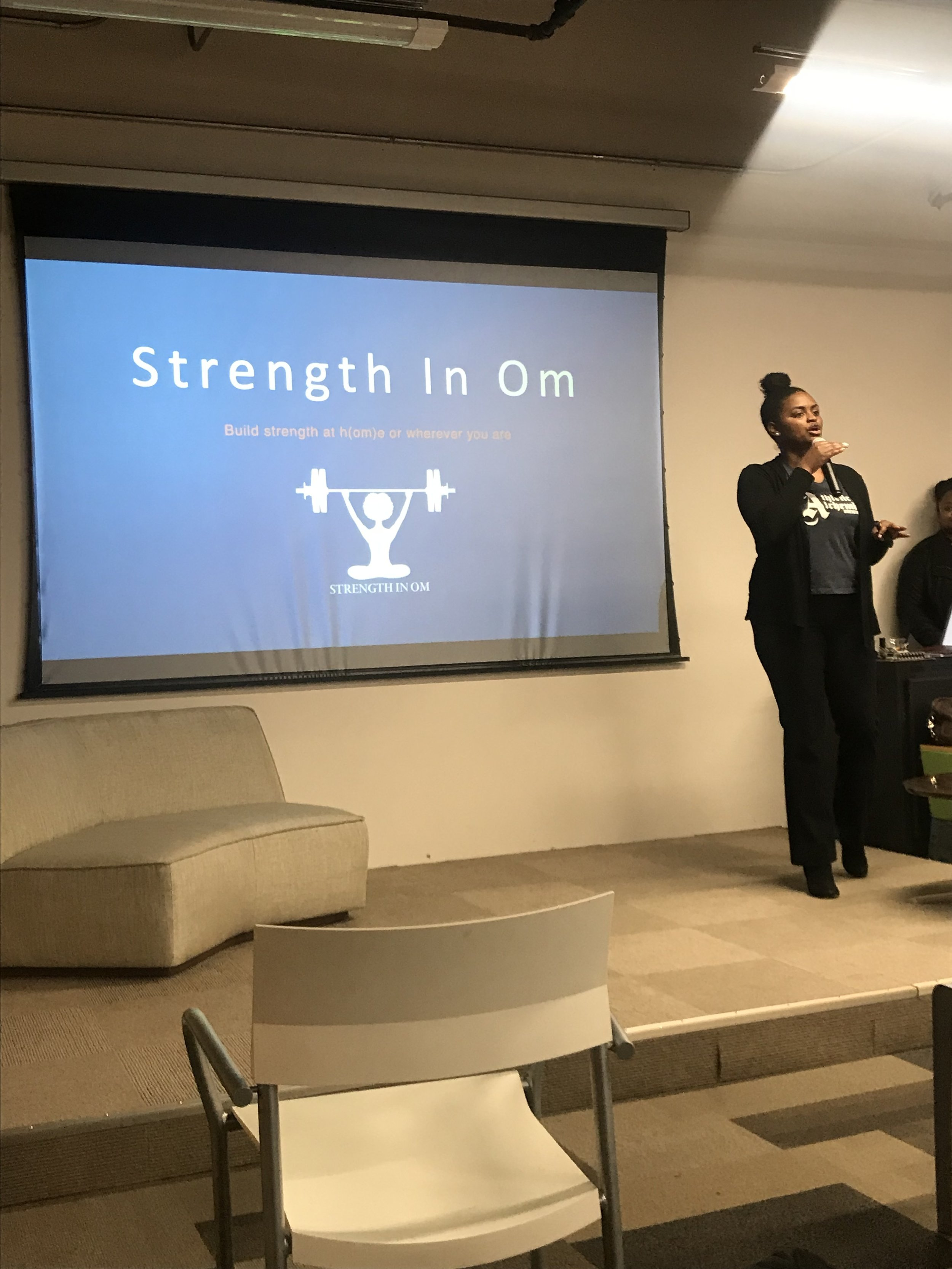 Shavonne pitched her yoga business,  Strength In Om , during the Black Hatch Fund's Pitch Pardi on 2.21.19