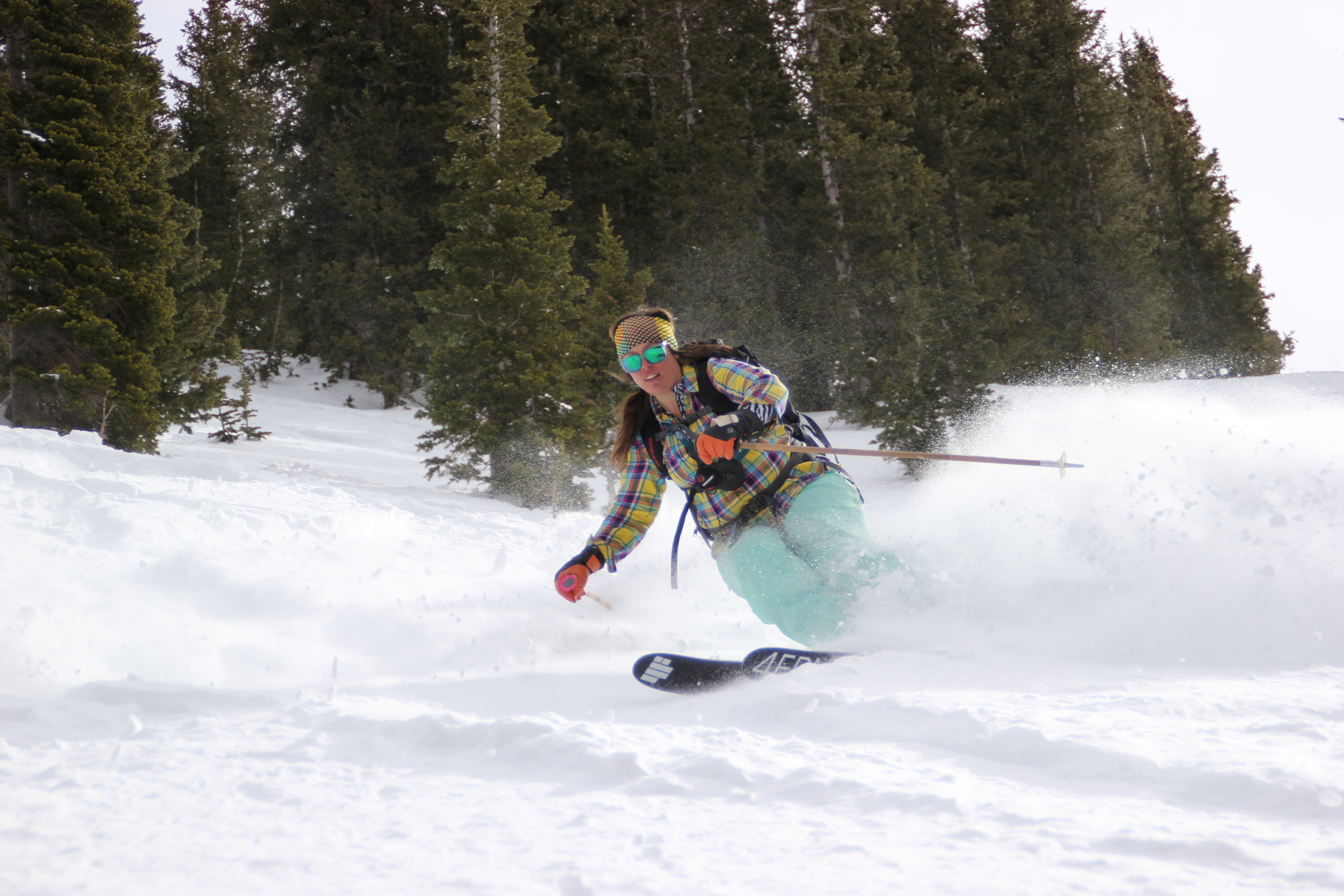 Brighton ski resort, UTAH, USA. Deep snow. Skier: Claire Smallwood
