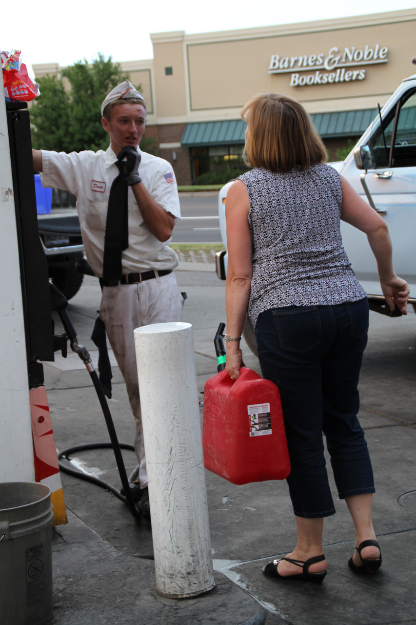Locals getting extra gas.... It wasn't really a huge issue where I was but people didn't take chances.
