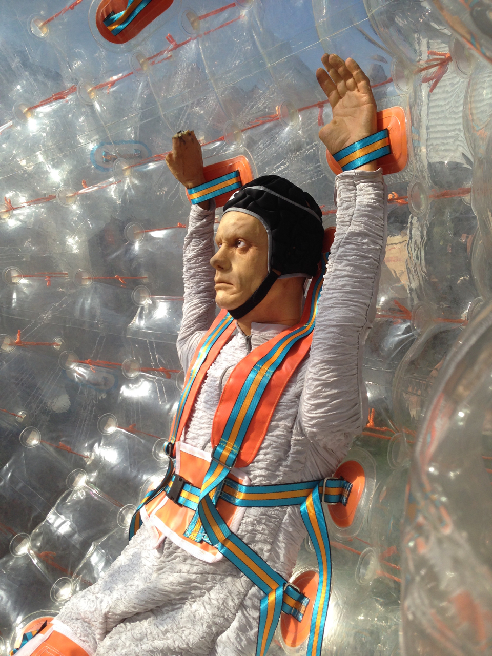 Inside the ZORB there was an actual stunt-man we sourced in Chile for the shoot. They had this dummy in for the test day.