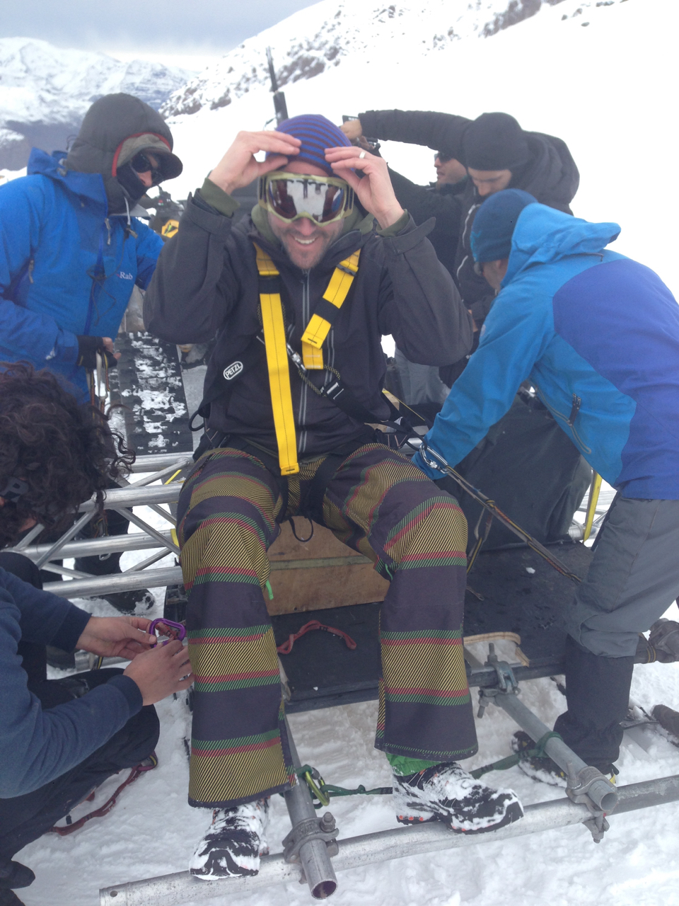 """Advising DOP Mark Zibert to """"mind the gap"""" with his goggles in the cold."""
