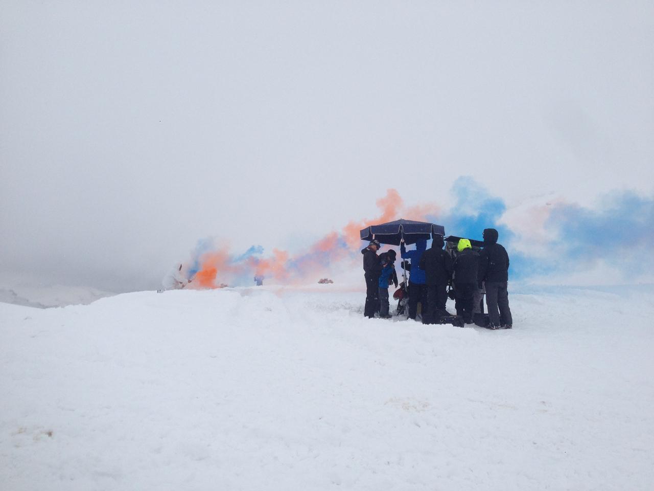 The ever present coloured smoke show on set.