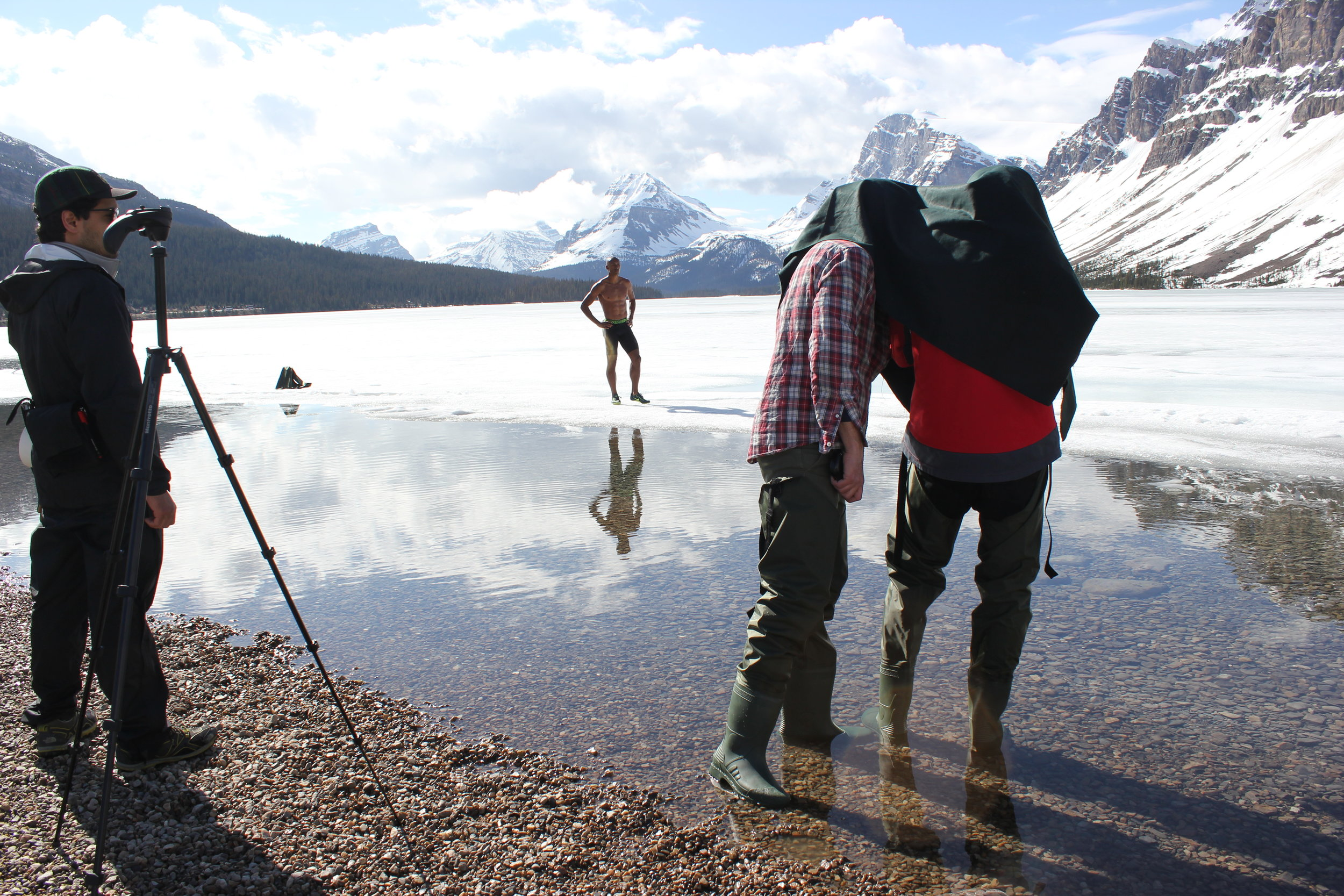 Not your usual track and field start.  Bow Lake, Alberta, Canada