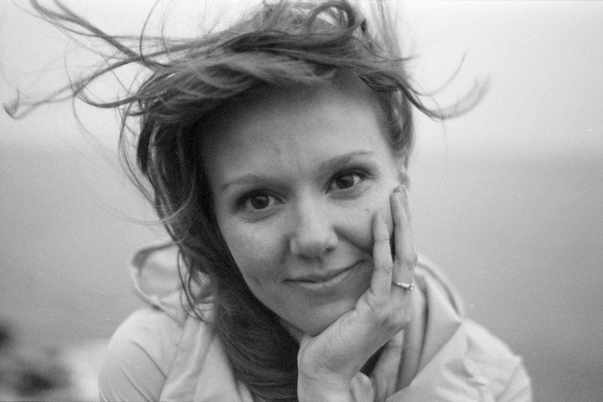 Jodi Gage, windblown hair, black and white photo